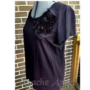 Talbots XL Black Embellished Tee12/14